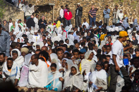 ethiopian ethnicity: Gonder, Ethiopia - January 20, 2012: group of unidentified people dressed in traditional attire during the Timkat holiday, the important Ethiopian Orthodox celebration of Epiphany.
