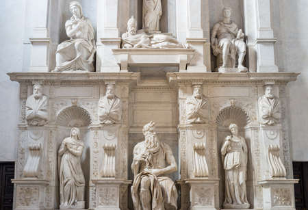vincoli: The statue of Moses by Michelangelo, located in San Pietro in Vincoli cathedral in Rome, Italy.  Stock Photo