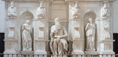 vincoli: The statue of Moses by Michelangelo, located in San Pietro in Vincoli cathedral in Rome, Italy. One of the most famous sculptures in the world. Natural light.