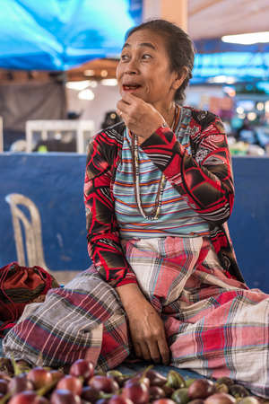 primitivism: Rantepao, Indonesia - September 4, 2014: Portrait of a fruit vendor adult woman of Toraja ethnicity in traditional attire, sitting and chewing red betel nut at the Bolu market in Rantepao, South Sulawesi, Indonesia.