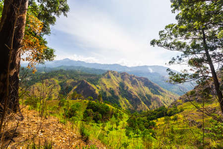 ella: Wide angle view of the Hill Country in Sri Lanka, from the summit of Ella Rock, famous travel destination and tourist spot for adventure people.