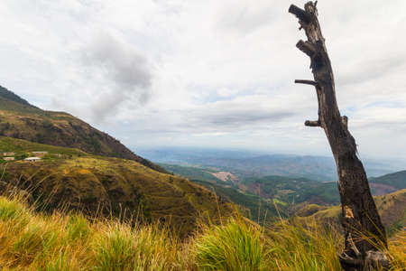 tourist spot: Wide angle view of the Hill Country in Sri Lanka, near Hortons Plain and the Worlds End, famous travel destination and tourist spot for adventure people. Stock Photo