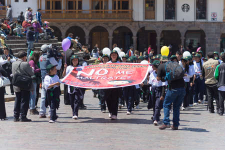 public demonstration: Cusco, Peru - September 10, 2015: public demonstration against children abuse in the streets of Cusco, Peru. Editorial