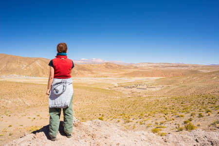 lipez: Tourist watching the stunning view of barren valley, known as quebradas, and mountain range of Lipez region on the Andean Highlands, among the most important travel destination in Bolivia. Rear view in daylight.