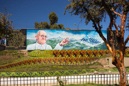 wall mural: La Paz, Bolivia - August 29, 2015: Wall mural for the welcoming of the recent Pope visit in La Paz, Bolivia. Editorial