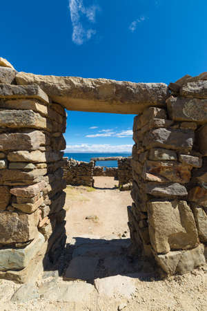 consecutive: Details of consecutive doors ancient Inca labyrinth like settlement, called Chinkana, on the Island of the Sun, Titicaca Lake, among the most scenic travel destination in Bolivia. Stock Photo