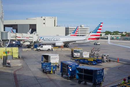 american airlines: Miami, Florida, United States - September 12, 2015: American Airlines airplanes parked at Miami International Airport, Florida, United States.