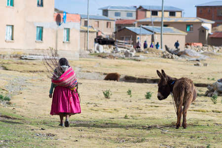 peruvian ethnicity: Rural life on the Island of the Sun, Lake Titicaca, Bolivia. About 800 families live on the island. They speak Aymara and Quechua language. Stock Photo