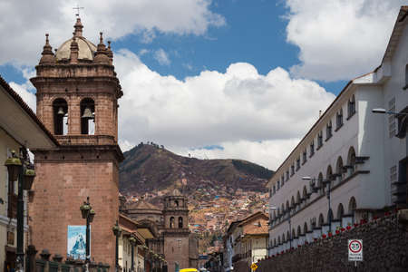 inca architecture: Colonial architecture and cityscape in Cusco, Peru, former Inca capital, famous travel destination in the world. Stock Photo