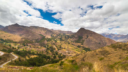 expansive: Expansive view of the Sacred Valley, Peru from Pisac Inca site, major travel destination in Cusco region, Peru. Dramatic sky.