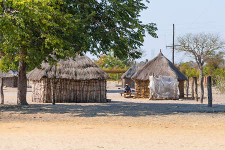 primitivism: Caprivi, Namibia - August 20, 2016: Poor people busy in their village in the rural Caprivi Strip, the most populated region in Namibia, Africa.
