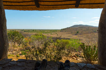 tourist resort: Panoramic view from wooden window in tourist resort in the Kruger National Park, South Africa. Relaxing people looking at view, human feet only included.