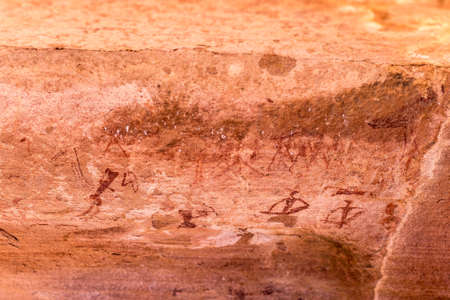 engravings: The famous prehistoric rock engravings at Twyfelfontein, tourist attraction and travel destination in Namibia, Africa.