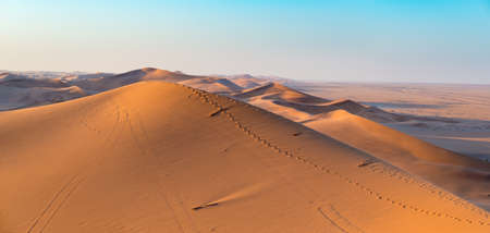 Golden sunlight over ridges and shapes of sand dunes in the majestic Namib Naukluft National Park at Walvisbaai, scenic tourist and travel attraction in Namibia. Adventure and exploration in Africa.