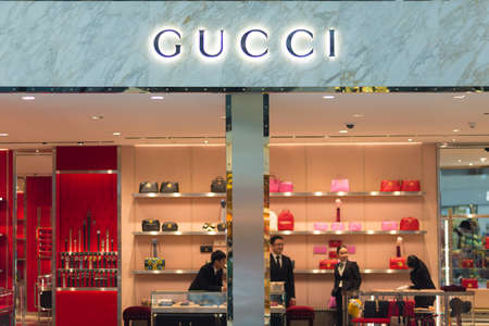 gucci store: Bangkok, Thailand - December 19, 2016: Details of Gucci store at Suvarnabhumi International Airport, Bangkok, Thailand. Close up. Gucci is an Italian fashion and leather goods brand, founded in 1920 in Florence, Italy