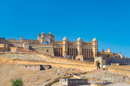 mughal empire: The impressive landscape and cityscape at Amber Fort, famous travel destination in Jaipur, Rajasthan, India.  Stock Photo