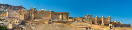 mughal empire: The impressive landscape and cityscape at Amber Fort, famous travel destination in Jaipur, Rajasthan, India. High resolution panoramic composition. Editorial