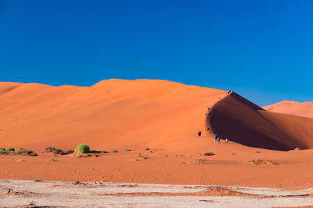 Tourists climbing the scenic sand dunes in Sossusvlei, Namib Naukluft National Park, best tourist and travel attraction in Namibia. Adventure and exploration in Africa.