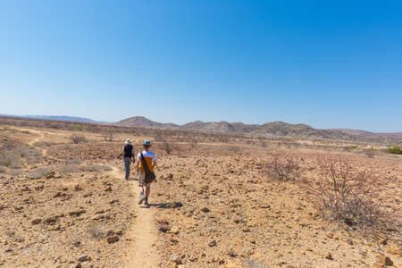 Khorixas, Namibia - August 26, 2016: Tourist and guide walking in the famous Petrified Forest National Park at Khorixas, Namibia, Africa. 280 million years old woodland, climate change concept