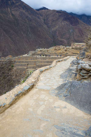 The archaeological site at Ollantaytambo, Inca city of Sacred Valley, major travel destination in Cusco region, Peru. Stock Photo