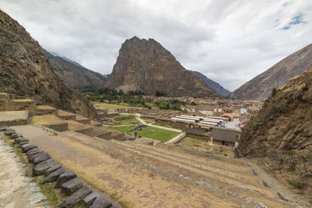 personal perspective: The archaeological site at Ollantaytambo, Inca city of Sacred Valley, major travel destination in Cusco region, Peru. Stock Photo