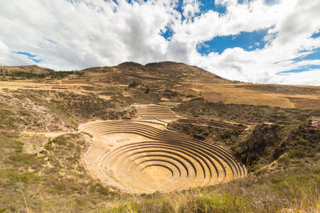 The archaeological site at Moray, travel destination in Cusco region and the Sacred Valley, Peru. Majestic concentric terraces, supposed Incas food farming laboratory. Stock Photo