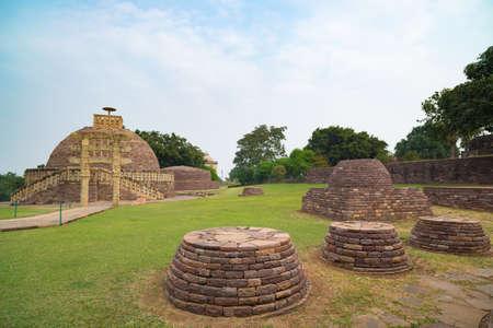 Sanchi Stupa, Madhya Pradesh, India. Ancient buddhist building, religion mystery, carved stone.