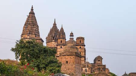 Orchha cityscape, hindu Chaturbhuj temple. Also spelled Orcha, famous travel destination in Madhya Pradesh, India. Stock Photo