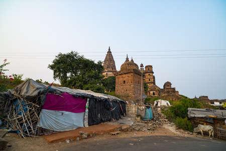 Orchha cityscape, hindu Chaturbhuj temple, Madhya Pradesh, India. Slum in the foreground Editorial