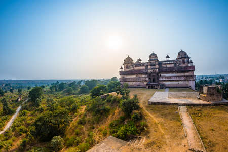 Orchha Palace, Madhya Pradesh. Also spelled Orcha, famous travel destination in India. Wide angle.