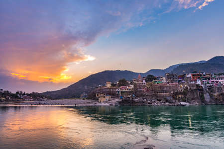 Dusk time at Rishikesh, holy town and travel destination in India