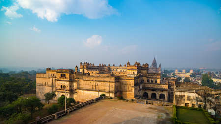 Orchha Palace, sunny day and blue sky, view from above. Also spelled Orcha, famous travel destination in India.