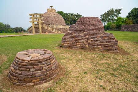 Sanchi Stupa, Ancient buddhist building, religion mystery, carved stone. Travel destination in Madhya Pradesh, India.