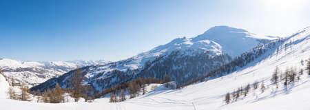 Panoramic view of Sestriere ski resort from above, famous travel destinatio in the Alps, Piedmont, Italy.