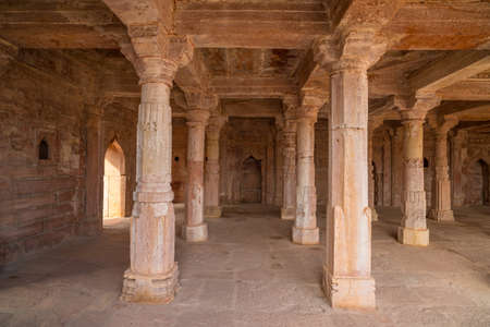 Mandu India, afghan ruins of islam kingdom, mosque monument and muslim tomb, interior details.