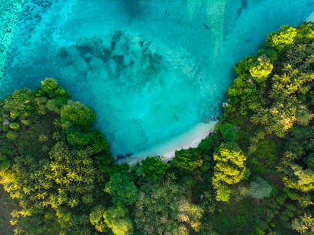 Aerial top down view tropical paradise pristine beach rainforest blue lagoon at Banda Island, Pulau Ay. Indonesia Moluccas archipelago, top travel destination, best diving snorkeling.