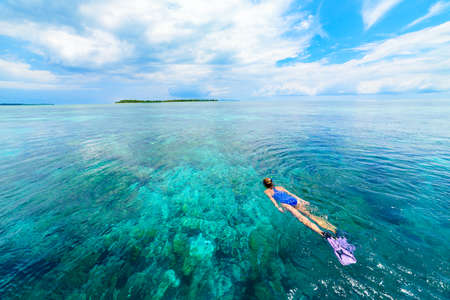 Woman snorkeling on coral reef tropical caribbean sea, turquoise blue water. Indonesia Wakatobi archipelago, marine national park, tourist diving travel destination 免版税图像