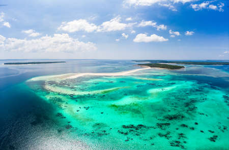 Aerial view tropical beach island reef caribbean sea. White sand bar Snake Island, Indonesia Moluccas archipelago, Kei Islands, Banda Sea, travel destination, best diving snorkeling Stock Photo