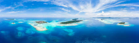 Aerial view Banyak Islands Sumatra tropical archipelago Indonesia, Aceh, coral reef white sand beach. Top travel tourist destination, best diving snorkeling. Banco de Imagens