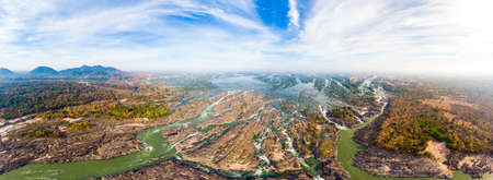 Aerial panoramic 4000 islands Mekong River in Laos, Li Phi waterfalls, famous travel destination backpacker in South East Asia Фото со стока