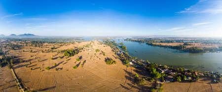Aerial panoramic 4000 islands Mekong River in Laos, Li Phi waterfalls, famous travel destination backpacker in South East Asia Banco de Imagens