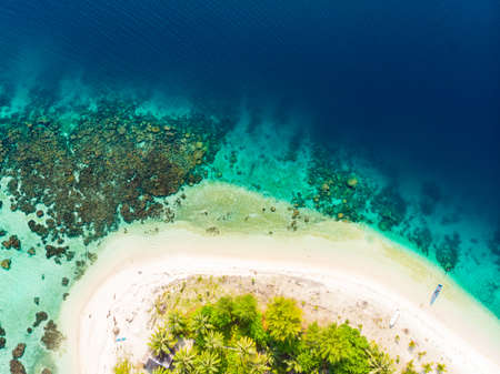 Aerial top down view Banyak Islands Sumatra tropical archipelago Indonesia, coral reef white sand beach beach turquoise water. Travel destination, diving snorkeling, uncontaminated environment ecosystem
