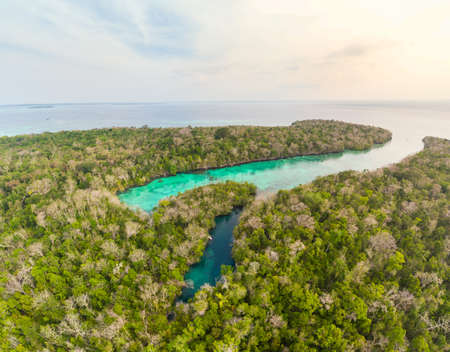 Aerial: tropical paradise pristine coast line rainforest blue lake at Bair Island. Indonesia Moluccas archipelago, Kei Islands, Banda Sea. Top travel destination, best diving snorkeling.