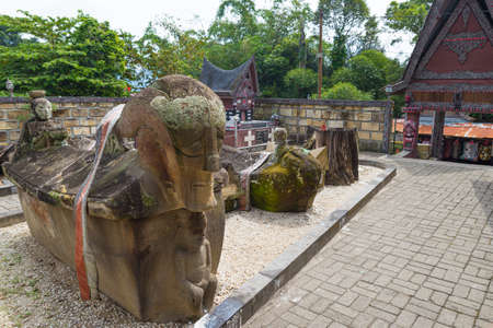 Lake Toba, Indonesia - circa February, 2019: Batak traditional graveyard at Tomok village, lake Toba, travel destination in Sumatra, Indonesia.