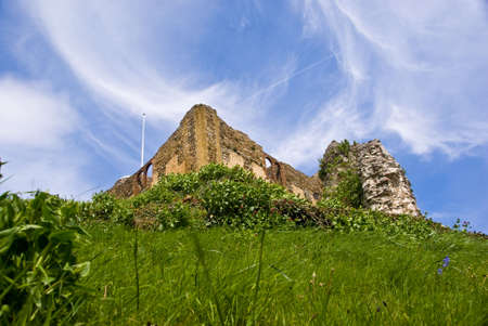 Guildford castle emerging from the hill