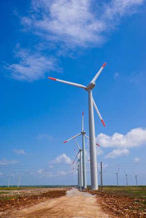 Wind turbines in a row in Bulgaria Stock Photo