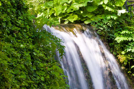 balchik: Watefall in the botanical garden at Balchik, Bulgaria. Longer exposure to capture water movement. Stock Photo