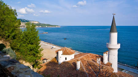 balchik: The Romanian Queen Castle In Balchik, against the bulgarian coastline