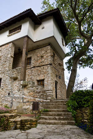 The Romanian Queen Castle In Balchik, vertical shot of the stairs leading to the entrance Stock Photo