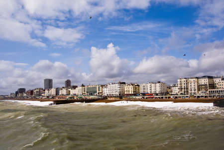 Brighton skyline showing the coast and stormy sea. Stock Photo